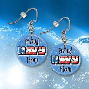Proud Navy Mom Button Dangle Earrings - MotherProud