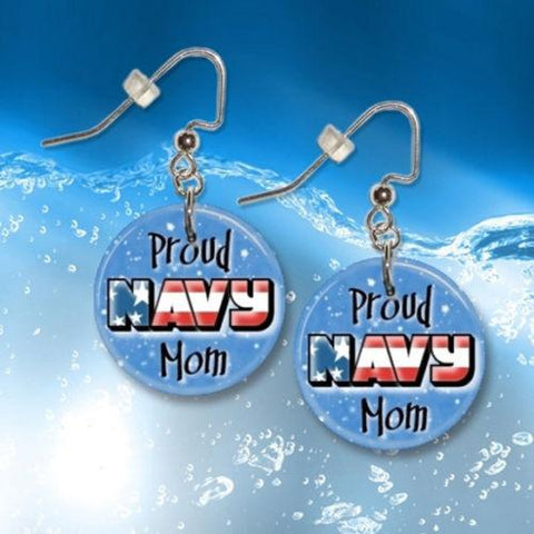 Proud Navy Mom Button Dangle Earrings
