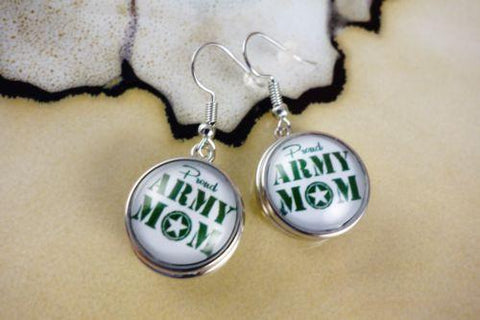 Army Mom 18mm SNAP BUTTON SILVER HOOK DANGLE EARRINGS