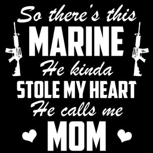 Marine Mom Marine Stole My Heart Decal - MotherProud