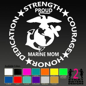 Marine Proud Mom 4 Traits Decal - MotherProud