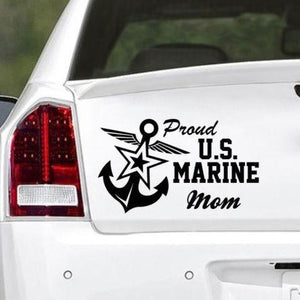 Proud Mom US Marine Vinyl Car Decal - MotherProud