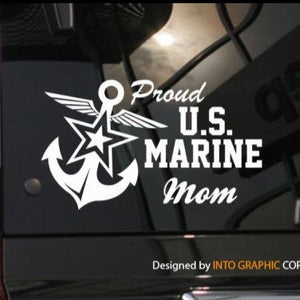 Graphics Decals - Proud Mom US Marine Vinyl Car Decal