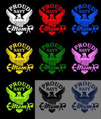 Proud Mom US Navy Vinyl Decal with Eagle Logo