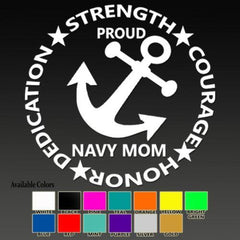 Proud Navy Mom 4 Traits Decal - MotherProud
