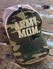 ARMY MOM Distressed Snapback Hat