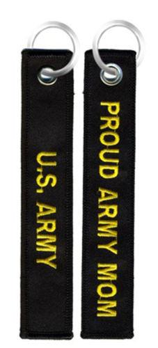 Key Chains - Proud Army Mom - Black Embroidered Key Chain Fob
