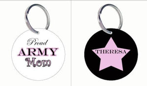 Key Chains - Proud Army Mom Personalized Key Ring