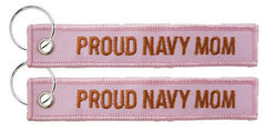 Proud Navy Mom - USN Pink Embroidered Key Chain Fob - MotherProud