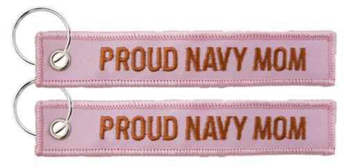 Key Chains - Proud Navy Mom - USN Pink Embroidered Key Chain Fob