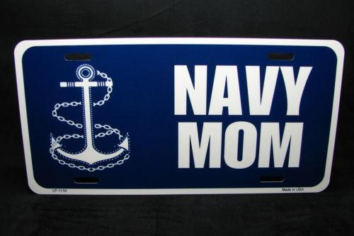 License Plate Frames - Navy Mom METAL NOVELTY LICENSE PLATE Car Sign