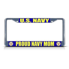 U.S. NAVY PROUD NAVY MOM Metal Heavy License Plate Frame - MotherProud