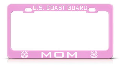 UNITED STATES COAST GUARD MOM Pink License Plate Frame