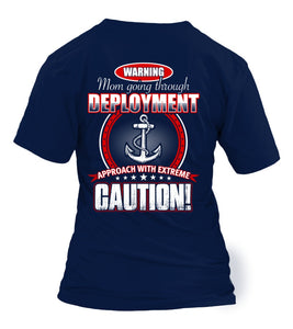 Navy Mom Approach Caution T-shirts