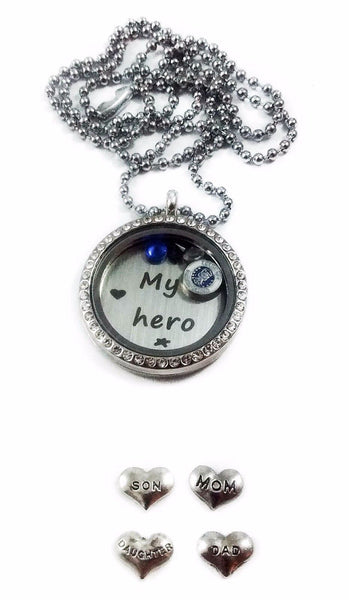 Air Force Mom Dad Family My Hero memory locket necklaces