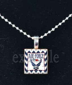Air Force Mom Scrabble Tile Necklace - MotherProud