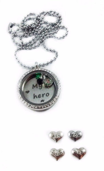 Army Family My Hero memory locket necklaces