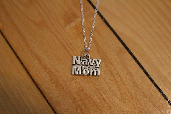 Navy Mom Charm Necklace Chain