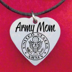 Army Mom Heart Necklace, Personalized FREE with Soldier's name!