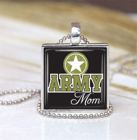 Handmade Army Mom Pendant Necklace