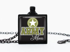 Handmade Pendant Army Mom Necklace