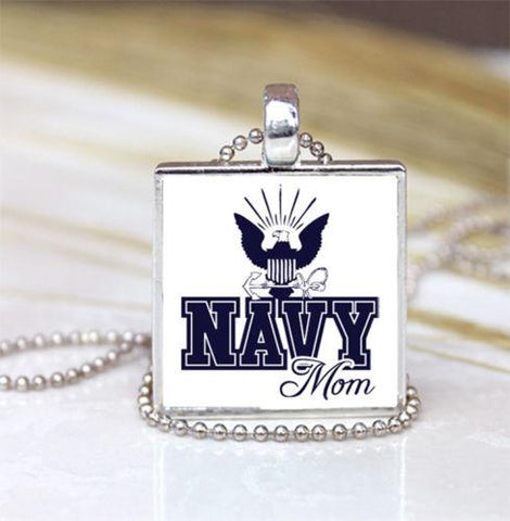 Handmade Pendant Necklace - Navy Mom