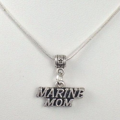 Necklaces & Pendants - MARINE MOM Charm Silver Snake Chain Necklace