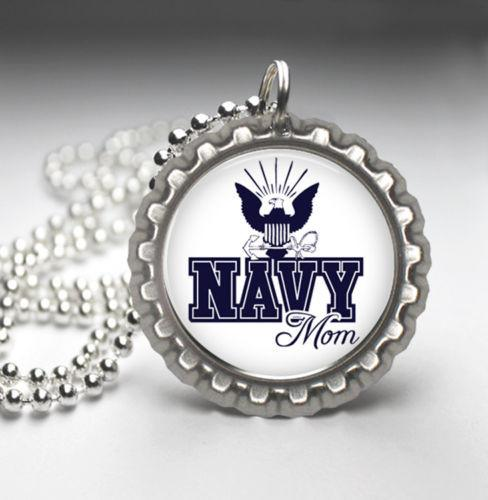 Navy Mom Handmade Photo Pendant Bottle Cap Necklace