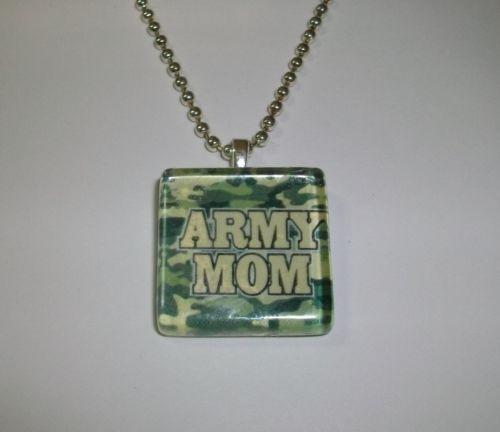 [ONLY 1 AVAILABLE] ARMY MOM CAMO PRINT Crystal Glass Tile Pendant Charm Necklace