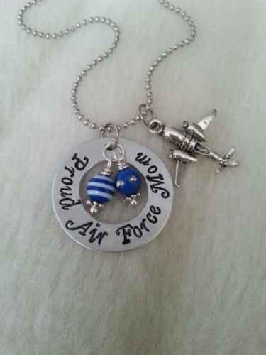 Proud Air Force Mom Airplane Pilot Blue Necklace Military Mothers Day Gift