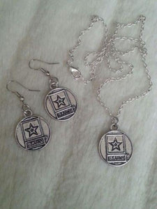 Sterling Silver Army Mom Necklace Earrings - MotherProud