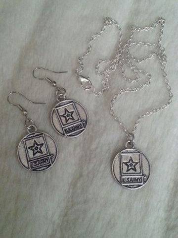 Sterling Silver Army Mom Necklace Earrings