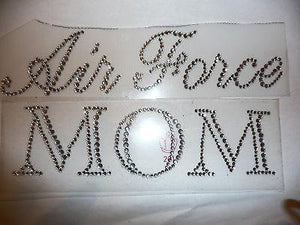 Air Force Mom Iron On Hot Fix Rhinestone Bling Transfer Motif - MotherProud