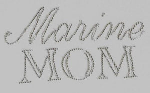 Marine Mom Iron On Hot Fix Rhinestone Bling Transfer Motif - MotherProud