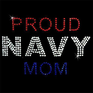 Other Sewing Notions & Tools - Rhinestone Transfer - Hot Fix Motif -  Proud Navy Mom