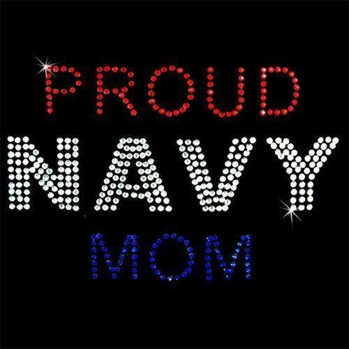 Rhinestone Transfer - Hot Fix Motif -  Proud Navy Mom - MotherProud