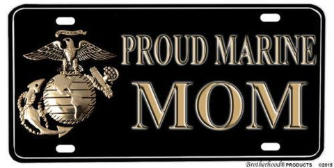 Proud Marine Mom Aluminum License plate