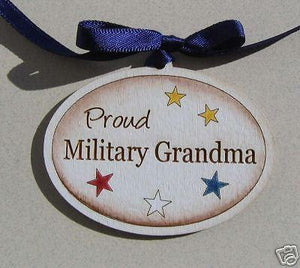 Wood HP Proud Military Grandma Ornament - MotherProud
