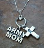 Precious Metal Without Stones - Army Mom Necklace With Awareness Cross