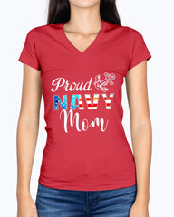 Proud Navy Mom with Color Flag T-shirts