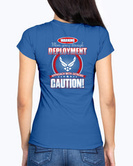 Proud Air Force Mom Approach with Caution T-shirts