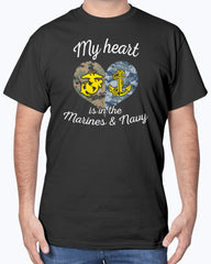 Proud US Marine Navy Mom My Heart T-shirts