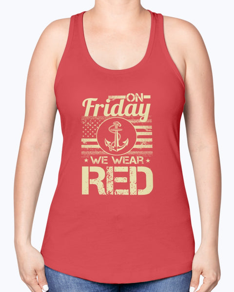 On Friday We Wear RED Navy Mom Parents T-shirts