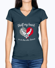 US Air Force Mom Half My Heart T-shirts