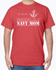 Proud Navy Mom Heartbeat T-shirts