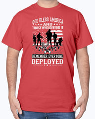 Red Friday God Bless Defend T-shirts