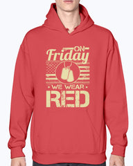 Army Marine Mom Dad On Friday Wear RED T-shirts