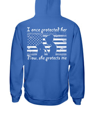 Once Protected Daughter Flag Marine Mom T-shirts