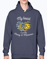 Proud Navy Marine Mom My Heart T-shirts