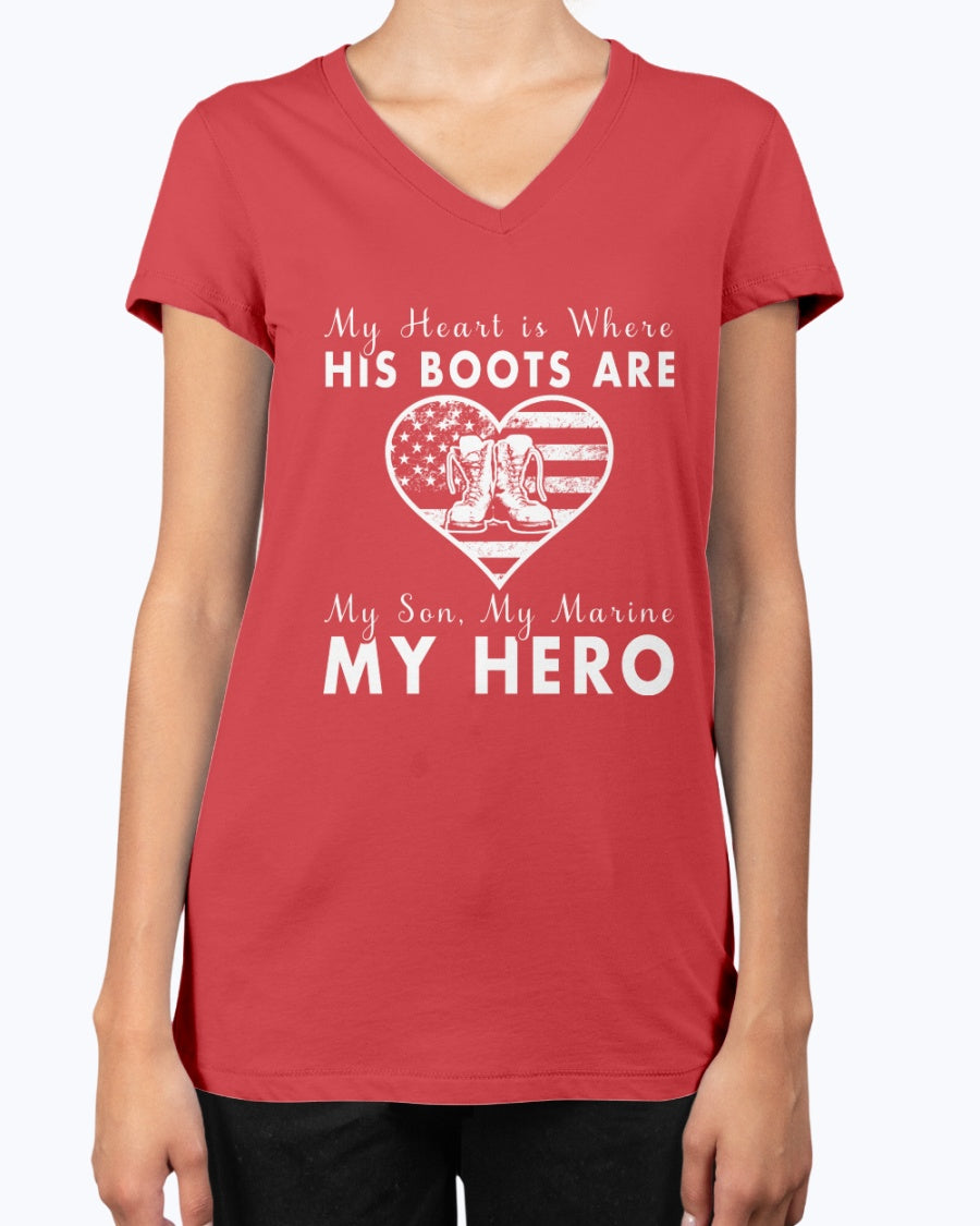 Proud Marine Mom Heart & Boots T-shirts